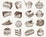 Confectionery. Set of vector sketches on a gray background stock illustration