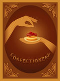 Confectionery – sign with cherry cake Stock Photos