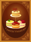 Confectionery – sign with four kinds of cakes Stock Photo