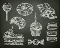 Confectionery, sketches on the chalkboard. Vector set royalty free illustration