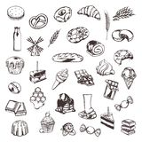 Confectionery sketches of icons Stock Image