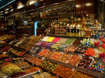 Confectionery stall. Colorful display of sweets on market confectionery stall Royalty Free Stock Images
