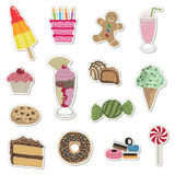 Confectionery stickers. Sticker collection - sweets, cakes, ice cream and cookies Royalty Free Stock Photos