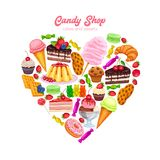 Confectionery and Sweets. Poster in Shape Heart Design Vector. Donut and Cotton Candy, Muffin, Waffles, Biscuits and Jelly. Dessert, Lollipop, Ice Cream with stock illustration
