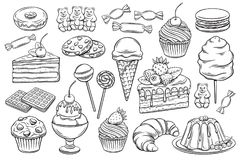 Confectionery and sweets icons. Vector hand drawn set confectionery and sweets icons. Dessert, lollipop, ice cream with candies, macaron and pudding. Donut and royalty free illustration