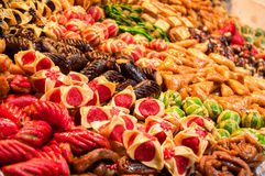 Confectionery. Typical sweet Moroccan Marrakesh market Stock Image