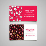 Confectionery vector business card with sweets and pattern Royalty Free Stock Photo