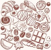 Confectionery. Vector sketches confectionery on a gray background vector illustration