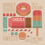Confectionery Vintage Cover - Donut, Chocolate Bar, Lollipop, Cookies, Sweet Candies, Chewing Gum and Ice-cream. Royalty Free Stock Photos
