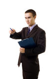 Confedent young business person point with pen Royalty Free Stock Photos