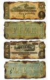 Confederado idoso, queimado cinco e dez notas de dólar Fotos de Stock Royalty Free