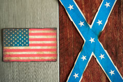 Confederate and american flag concept Stock Photos