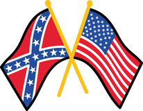 Confederate And American Flag Stock Photography