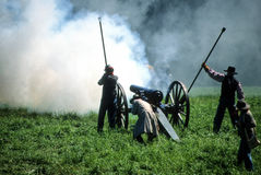 Confederate artillery firing Stock Photography