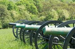 Confederate Cannons looking down at School Ridge North. Royalty Free Stock Photography