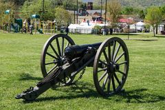 Confederate Canon. Buchanan, VA - April 28th; Confederate canon at the annual Buchanan Civil War History Weekend on April 28th, 2018, Buchanan, Virginia, USA royalty free stock photo