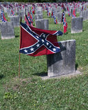 Confederate cemetery closeup. Confederate flags marking graves in a Confederate Cemetery in Virginia stock images