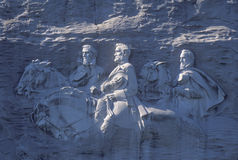 Confederate Civil War Memorial in Stone Mountain Park, Atlanta, GA, made of granite depicting Jefferson Davis, Robert E. Lee and S Royalty Free Stock Images