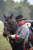 Confederate Civil War soldier with horse Royalty Free Stock Photography