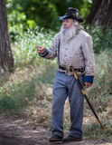 Confederate Commander. Civil War era soldier gives a speech to the troops before a   battle at the Dog Island reenactment in Red Bluff, California Royalty Free Stock Image