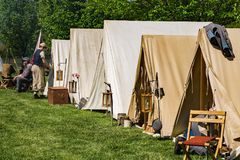 Confederate encampment at the Battle of Buchanan. Buchanan, VA - April 28th ;Confederate encampment at the annual Buchanan Civil War History Weekend on April stock photos