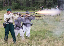Confederate Firing Line Stock Photo