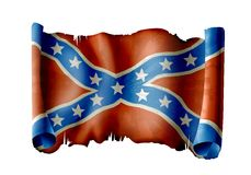 Confederate flag. Illustration of  toothed and burnt confederate flag scroll Stock Photography