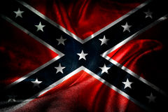 Confederate flag. Closeup of grunge silky Confederate flag Royalty Free Stock Images