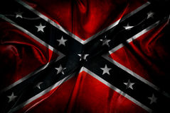 Confederate flag. Closeup of grunge silky Confederate flag Royalty Free Stock Photo