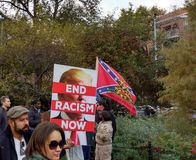 Confederate Flag, Don`t Tread On Me, Washington Square Park, NYC, NY, USA Stock Photos