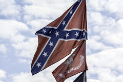 Confederate Flag. Flying on sunny summer day Royalty Free Stock Photos