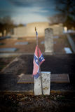 Confederate Flag on Headstone Royalty Free Stock Photography