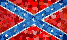 Confederate flag made of hearts background. Illustration, Abstract mosaic grunge Confederate Flag, The Blood-Stained Banner, Flags of the Confederate with stock illustration