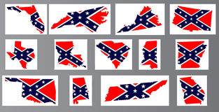 Confederate Flag Maps Stock Photo