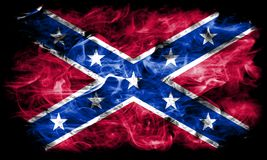 Confederate flag, Navy Jack smoke flag. On a black background Stock Images