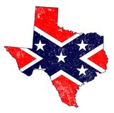 Confederate Flag Over Texas Map. The flag of the confederates over a silhouette map of Texas Royalty Free Stock Photography
