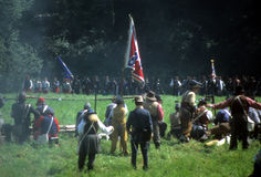 Confederate infantry fires royalty free stock photo