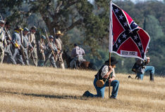 Confederate  Infantry March to the Front Royalty Free Stock Images