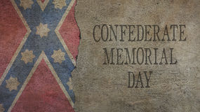 Confederate Memorial Day. Flag and Concrete. Confederate Memorial Day. Flag and Cracked Concrete Stock Images