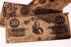 Confederate Money. Photo of Confederate Treasury Notes from the Civil War Era Royalty Free Stock Photos