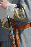 Confederate officer sword. Confederate officer from the US Civil War with sword Stock Images
