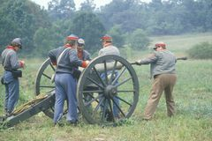 Confederate participant soldiers during Battle of Manassas firing cannon, marking the beginning of Civil War, Virginia Royalty Free Stock Images