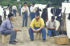 Confederate participants in camp scene during recreation of Battle of Manassas, marking the beginning of the Civil War Royalty Free Stock Photo