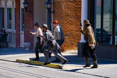 Confederate Reenactors at the Battle of Buchanan. Buchanan, VA - April 28th ; Yankee and Confederate reenactors reenacting on main street at the Battle of Stock Image