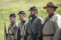Confederate reenactors in formation. Stock Images