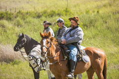 Confederate reenactors on horseback. Royalty Free Stock Image