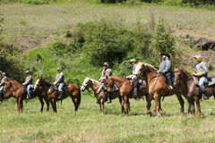 Confederate reenactors on horseback. Royalty Free Stock Photos