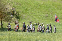 Confederate reenactors on the march. Stock Images
