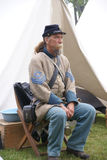 A Confederate sergeant waits by his tent Royalty Free Stock Photo