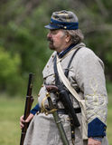 Confederate Soldier. Civil War era soldier before a  battle  at the Dog Island reenactment in Red Bluff, California Stock Images